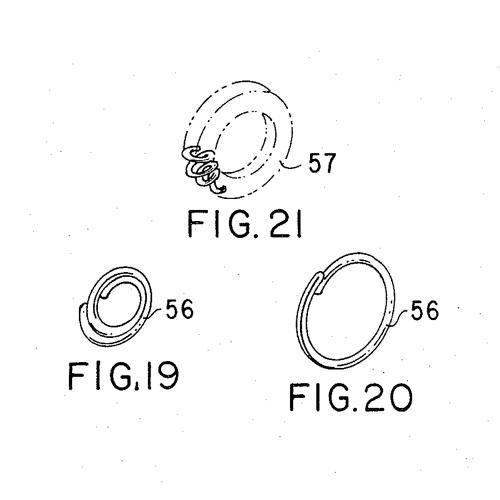 3 figures from Dr. InBae Yoon US patent 3,870,048 showing 3 ring-shaped parts of his tool for minimally-invasive tubal ligations.