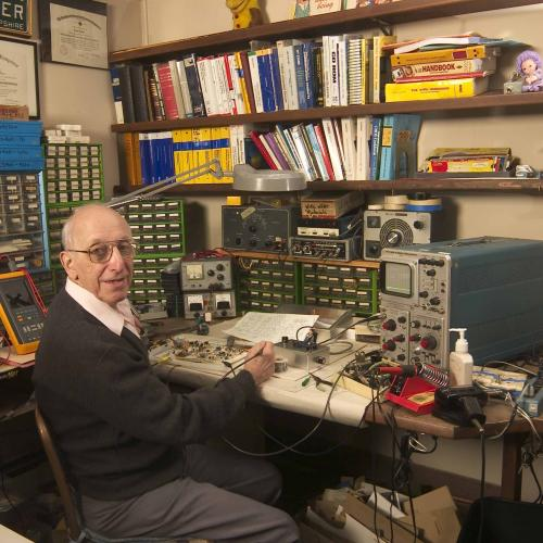 Ralph Baer in his basement workshop, 2003