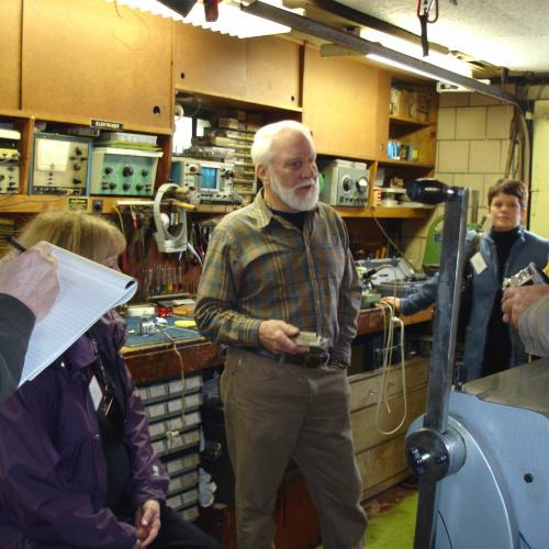 Chuck Popenoe in his basement workshop