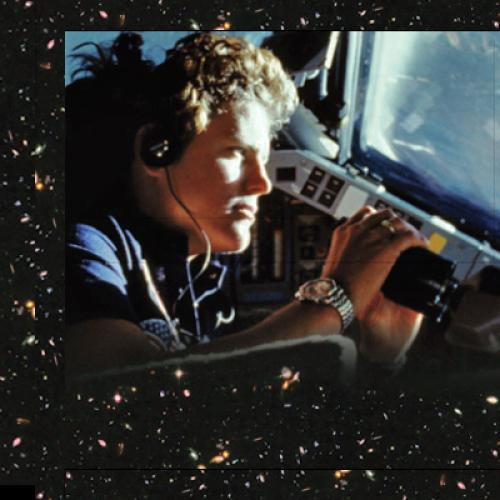 Detail of Handprints on Hubble book cover, showing astronaut Kathy Sullivan looking out the window of the space shuttle.