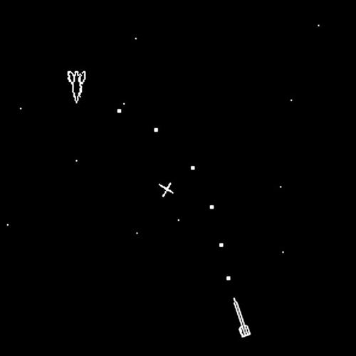 Screenshot of Spacewar! video game