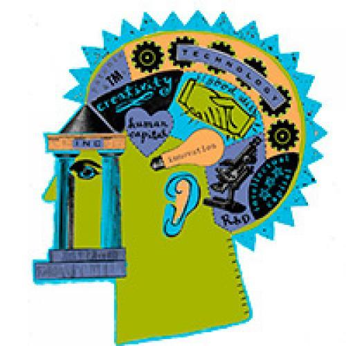 Logo for the Modern Inventors Documentation database, showing a stylized head with words like creativity and innovation written on different parts of the brain