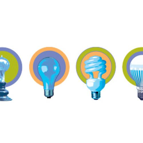 Logo graphic showing 4 light bulbs in chronological order: 2 incandescent, CFL, and LED
