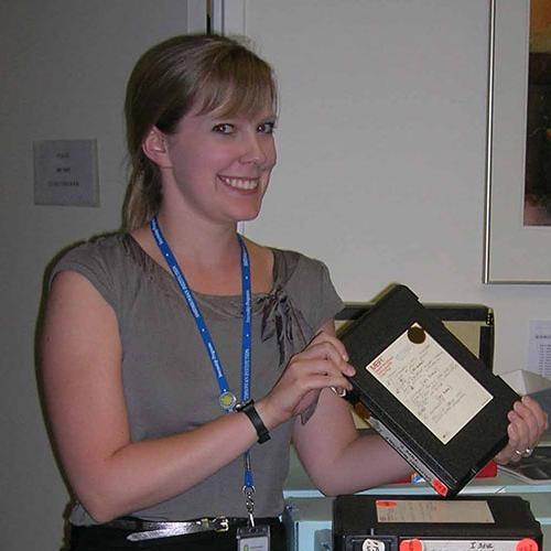 Archival intern Elizabeth Garber