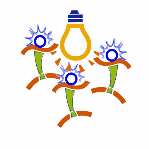 3 Sparky stick figures tumbling around a drawing of a light bulb.