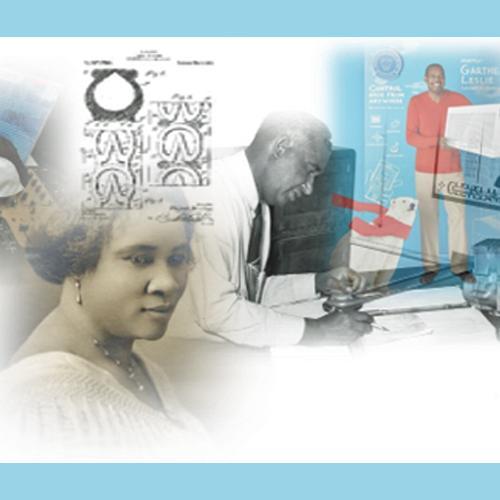 Collage of images of Black inventors, including Madam CJ Walker