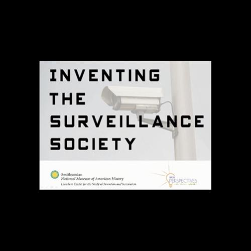 Logo for Inventing the Surveillance Society symposium, picturing a pole-mounted CCTV.