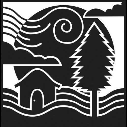Block print in black and white, showing stylized tree, river, house, sun, and clouds