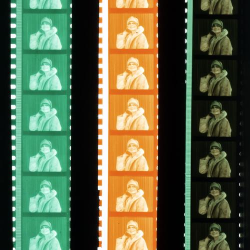 Examples of two-color dyed matrices with the finished film at right.