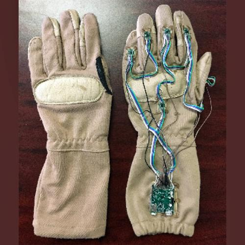 Front and back of NuGlove instrumented gesture recognition glove