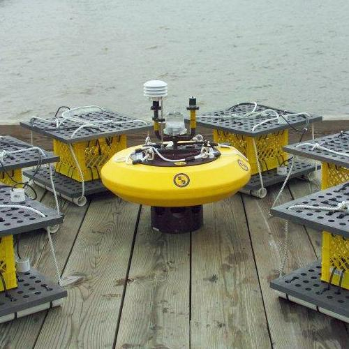 Underwater fuel cell array sitting on a dock