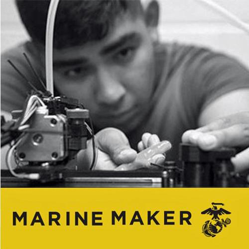 Logo for the Marine Maker Initiative, with photo of young boy using a 3D printer