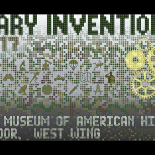 Logo for Military Invention Day showing a stylized head in profile with simple drawings of gears and many inventions trailing from the back of the head