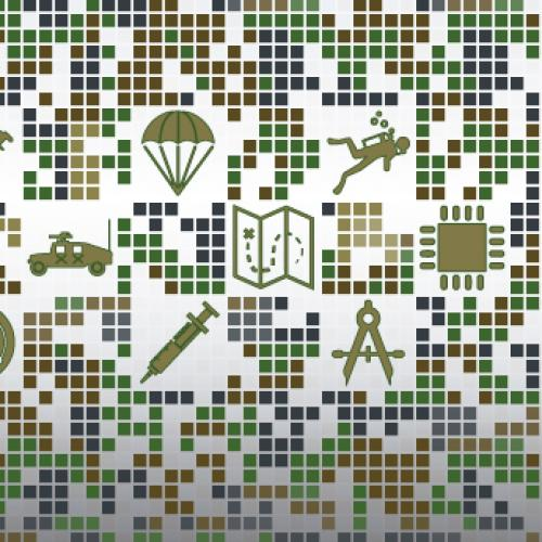 A detail from the logo banner for Military Invention Day 2018, showing stylized drawings of an armored vehicle, a parachute, a hypodermic syringe, a scuba diver, an integrated circuit, and a drafting compass, set among a mosaic of squares in shades of green, brown, and blue.