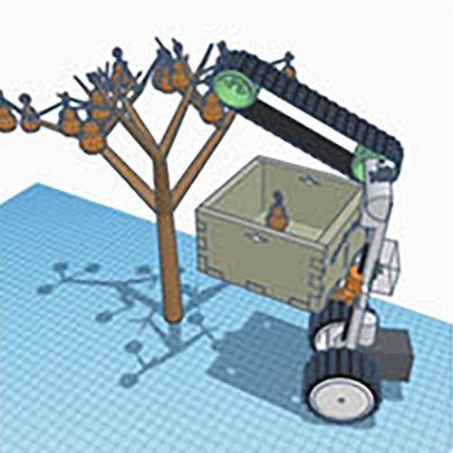 Computer-generated sketch of tree picker machine