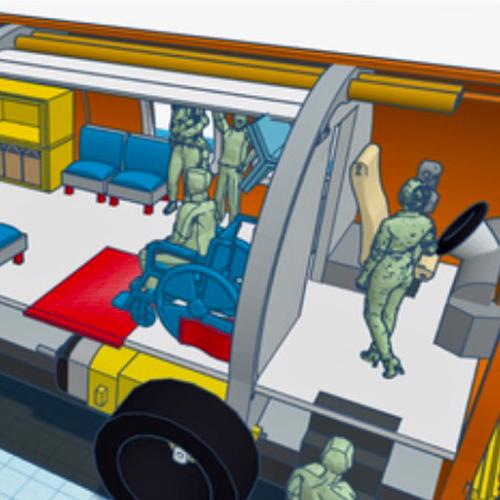 Computer-generated image of people in a mass transit vehicle