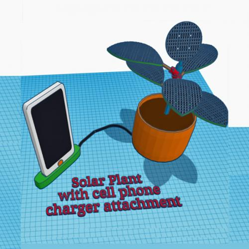 Computer-generated drawing of solar panels in the shape of a houseplant charging a cell phone