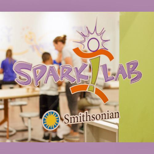 SparkLab and Smithsonian logos on the window looking into the Holland Museum SparkLab space. Five children and one adult woman can be seen through the window, working at tables, but the people are out of focus.