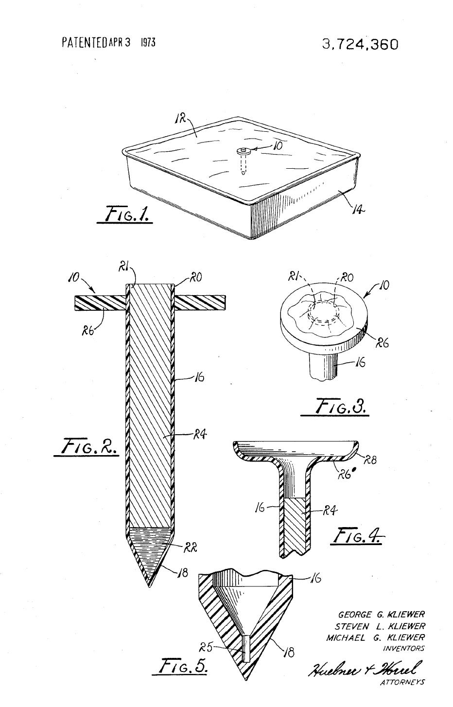 Patent drawing for the first pop-up turkey timer.