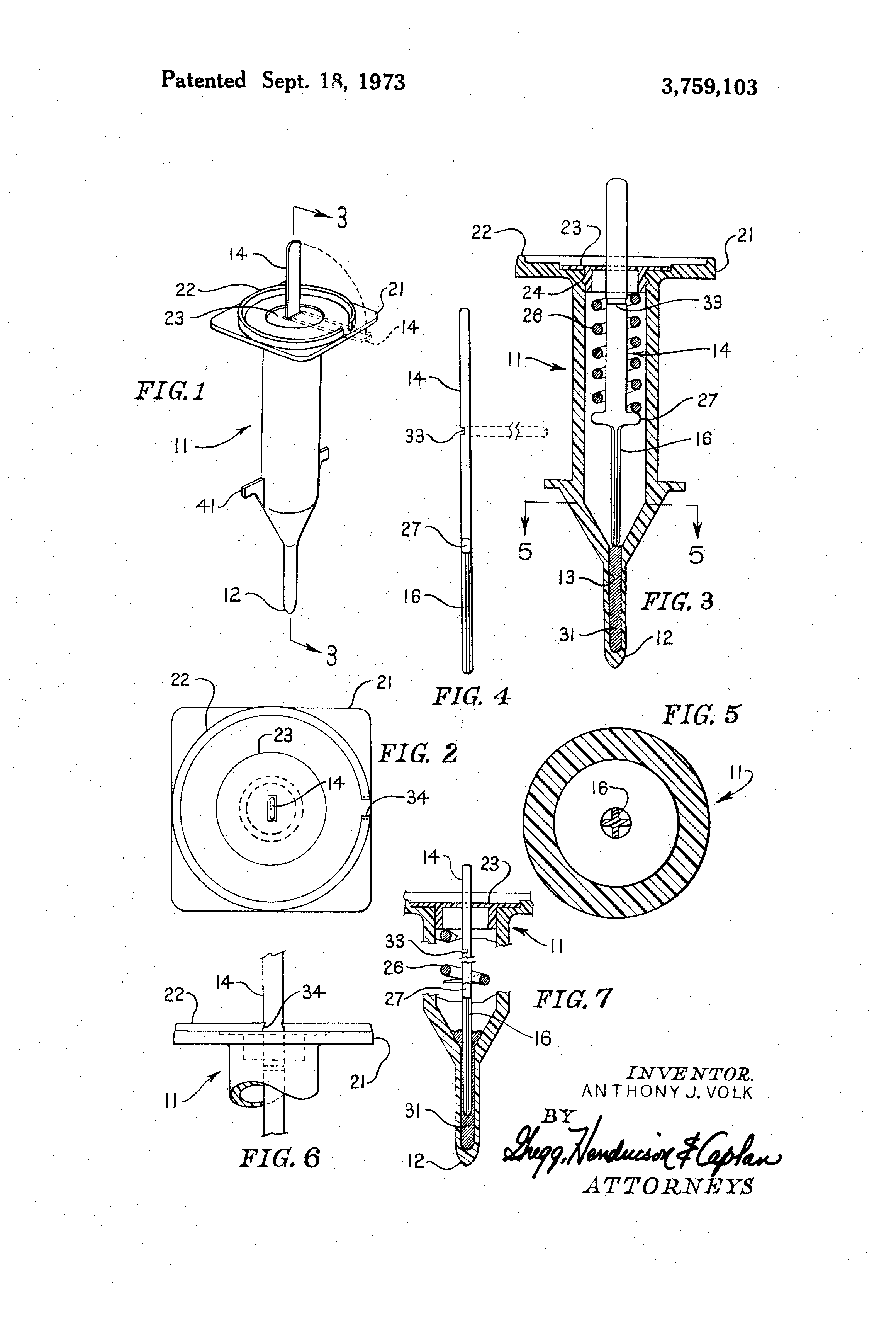Patent drawing for Volk's first Disposable Cooking Thermometer, the Vue-Temp.