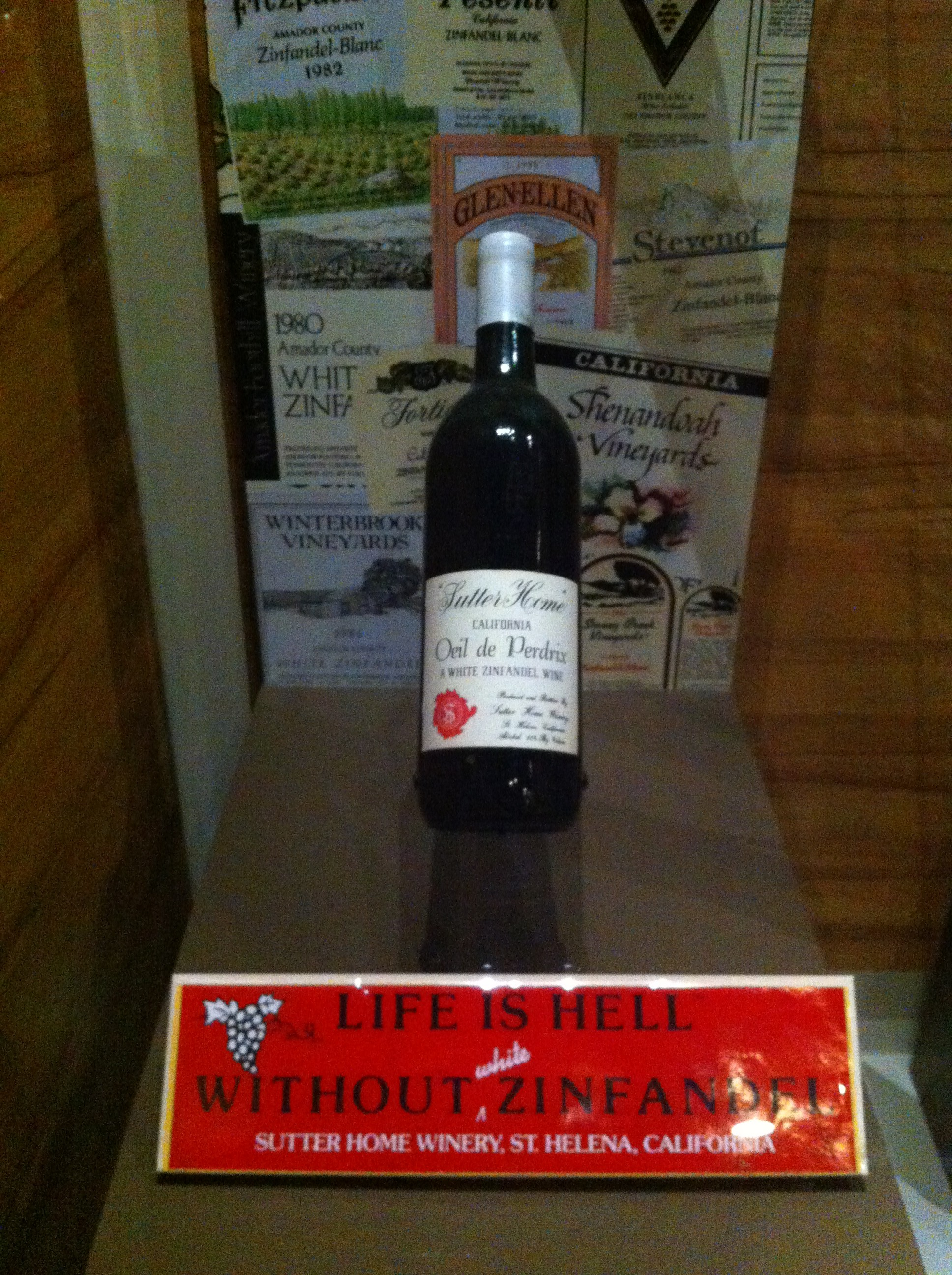 one of the first bottles of White Zinfandel made by the Trincheros of Sutter Home Winery in 1975.